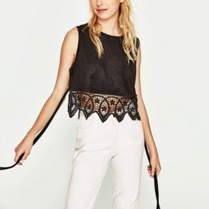 NWT Zara Faux Suede Lace Sleeveless Crop Top